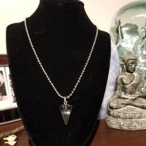 Jewelry - Handmade Glass Faux Quartz Crystal Pendant